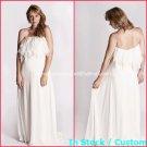 A-line Bridal Dress Strapless White Chiffon Maternity Beach Wedding Dress H26 Sz6 8 10 12 14 16+