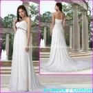 A-line Bridal Dress Strapless White Chiffon Maternity Beach Wedding Dress H43 Sz6 8 10 12 14 16+