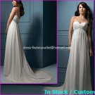 A-line Bridal Dress Strapless White Chiffon Pregnant Beach Wedding Dress H49 Sz6 8 10 12 14 16+
