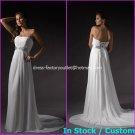 A-line Bridal Dress Strapless White Chiffon Silver SASH Beach Wedding Dress H58 Sz6 8 10 12 14 16+