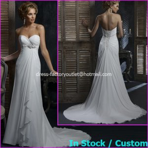 A-line Bridal Dress Strapless White Chiffon Sweethart Beach Wedding Dress H58 Sz6 8 10 12 14 16+