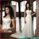 A-line Bridal Dress Strapless White Chiffon Jeweled Beach Wedding Dress H2 Sz6 8 10 12 14 16+