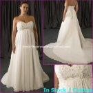 A-line Bridal Dress Strapless White Chiffon Applique Beach Wedding Dress h54 Sz6 8 10 12 14 16+