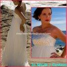 A-line Bridal Dress Strapless White Silk Chiffon Embroidery Wedding Dress Sz6 8 10 12 14 16+