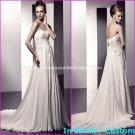 A-line Bridal Dress Strapless White Silk Chiffon Lace Jeweled Wedding Dress Sz6 8 10 12 14 16+