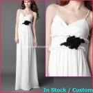 A-line Bridal Dress Spaghetti Straps White Black Chiffon Beach Wedding Dress Sz6 8 10 12 14 16+