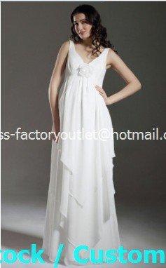 A-line Bridal Dress Sleeveless V-neck White Chiffon Maternity Wedding Dress Sz6 8 10 12 14 16+