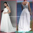 A-line Bridal Dress Spaghetti Straps White Chiffon Jeweled SASH Wedding Dress H19 Sz6 8 10 12 14 16+