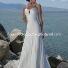 A-line Bridal Dress Beaded Straps White Ivory Chiffon Empire Wedding Dress Sz 4 6 8 10 12 14 16+