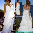 A-line Beach Bridal Dress Thin Straps Tiered White Chiffon Wedding Dress Sz 4 6 8 10 12 14 16+
