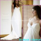A-line Sexy Bridal Dress Thin Straps White Ivory Chiffon Empire Wedding Dress Sz6 8 10 12 14 16+