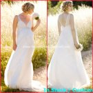 A-line Bridal Dress V-neck White Chiffon Lace Empire Maternity Wedding Dress Sz 4 6 8 10 12 14+