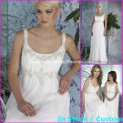 A-line Bridal Dress U-neck Sexy White Chiffon Embrpoidery Empire Wedding Dress Sz 4 6 8 10 12 14+