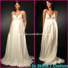 A-line Bridal Dress Sexy White Silk Chiffon Jeweled Empire Wedding Dress Sz 4 6 8 10 12 14+