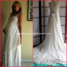 A-line Bridal Dress SWEETHEART CATHEDRA TRAIN White Chiffon Wedding Dress Sz6 8 10 12 14+