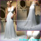 A-line Bridal Dress V-neck White Chiffon Jeweled Cross Back Wedding Dress Sz 4 6 8 10 12 14+