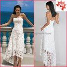 Lace Beach Bridal Gown Strapless Ivory White Hi-low Wedding Dress Free Jacket Sz 2 4 6 8 10+