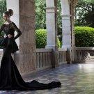 Long Sleeves Lace Top Bridal Gown Prom Dress Black Chiffon Mermaid Wedding Dress Sz 2 4 6 8 10+