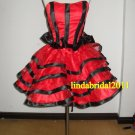 Strapless Short Bridesmaid Dress Red Black Wedding Prom Party Dress Sz 2 4 6 8 10+