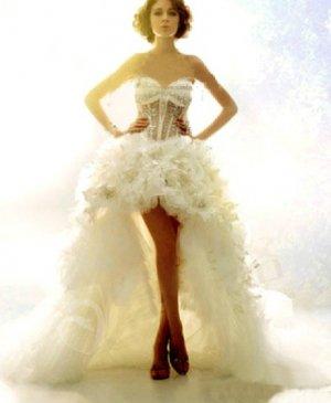 Bridal Gown Swarovski RhinestoneS Short Front Long Back Hi-low Wedding Dress Sz2 4 6 8 10+Custom