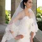 1 Tier Wide Lace Ruffles Tulle Cathedral Cut Wedding Veil 2.8X1.5 M Bridal Dress Veils