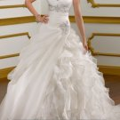 A-line Ivory White Bridal Gown Organza Wedding Dress V-neck Bridal Ball Gown Sz 2 4 6 8 10 12+