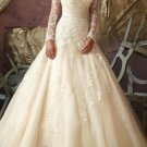 A-line CHAMPAGNE Bridal Gown Long Lace Sleeves Wedding DresS Bridal Ball Gown Sz 2 4 6 8 10 12+