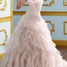 Ivory White Bridal Gown V-neck Pink Organza Wedding Dress A-ine Bridal Ball Gown Sz 2 4 6 8 10 12+