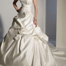 Ivory Satin Wedding Gown Strapless Wedding Dress Beaded Flowers Bridal Gown Sz2 4 6 8 10 12+