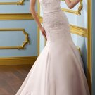 Pink Satin Lace Wedding Dress Strapless Jeweled Trumpet Bridal Gown Sz4 6 8 10 12 14+Custom