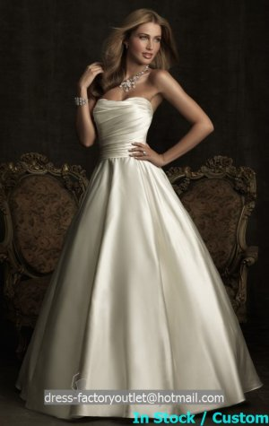 A-line White Ivory Wedding Gown Strapless Bridal Wedding Dress Gown Sz4 6 8 10 12 14+
