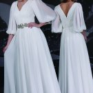 A-line White Chiffon Long Sleeves V-neck Bridal Wedding Dress Evening Gown Sz2 4 6 8 10 12+