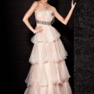 A-line Strapless Tiered Nude Organza Prom Dress Royal Bridal Wedding Dress Gown Sz4 6 8 10 12 14+