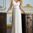 A-line Beaded Bridal Wedding Dress Halter Chiffon Bridesmaid Prom Dress Sz 4 6 8 10 12 14+