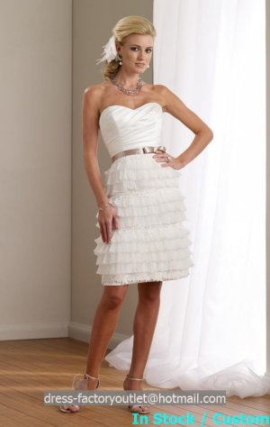 Little White Lace Bridal Wedding Dress Strapless Short Gold SASH Evening Prom Gown Sz4 6 8 10 12 14+