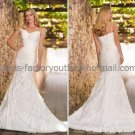 White Chiffon Bridal Wedding Gown Thin Straps Layered Memaid Wedding Dress Sz4 6 8 10 12 14+Custom