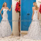 White Bridal Wedding Gown Strapless Cascading Ruffles Memaid Wedding Dress Sz4 6 8 10 12 14+Custom