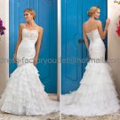 White Bridal Wedding Gown Strapless Organza Ruffles Memaid Wedding Dress Sz4 6 8 10 12 14+Custom