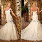 White Bridal Wedding Gown One Shoulder Organza Memaid Wedding Dress Sz4 6 8 10 12 14+