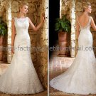 White Lace Bridal Wedding Gown Boack Neck V BACK Memaid Wedding Dress Sz4 6 8 10 12 14+Custom