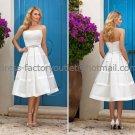 Ivory White Satin Bridal Wedding Dress Strapless Short Evening Prom Gown Sz4 6 8 10 12 14+Custom