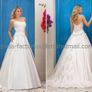 A-line Strapless Bridal Wedding Gown Lace Applique SATIN Wedding Dress Sz4 6 8 10 12 14+Custom