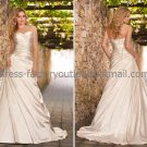 A-line Strapless Bridal Wedding Gown Champagne SATIN Wedding Dress Sz4 6 8 10 12 14+Custom