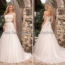 A-line Strapless Lace Tulle Bridal Wedding Gown Champagne SASH Wedding Dress Sz4 6 8 10 12 14+Custom
