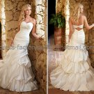 A-line Strapless Bridal Wedding Gown White Ivory SATIN Wedding Dress Sz4 6 8 10 12 14+Custom