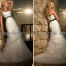 Strapless Wedding Gown Ivory White Lace Wedding Dress Balck SASH Sz4 6 8 10 12 14+Custom