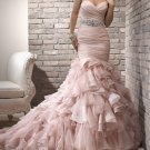 Pink Organza Tulle Bridal Wedding Gown Strapless Sweetheart Mermaid Wedding Dress Sz4 6 8 10 12 14+