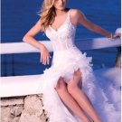 A-line Thin Straps Slit Bridal Dress White Lace Tiered Beach Wedding Dress Sz 4 6 8 10 12 14+Custom