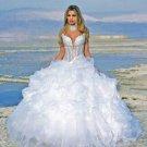 A-line White Organza Lace Bridal Gown Spaghetti Beach Wedding DresS Ball Gown Sz 2 4 6 8 10 12+
