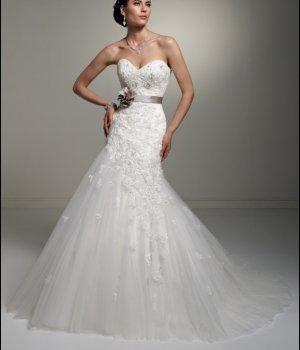 Mermaid Strapless Ivory Alencon Lace Wedding Gown Purple SASH Bridal Dress Sz4 6 8 10 12 14+Custom